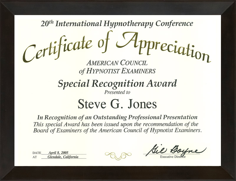 About dr steve g jones edd clinical hypnotherapist american council of hypnotist examiners special recognition award yelopaper Choice Image